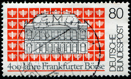 frankfurt stock exchange: GDR - CIRCA 1985: A stamp printed in GDR (East Germany) shows 400 years of the Frankfurt Stock Exchange, circa 1985