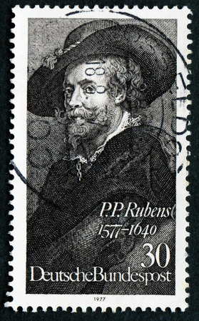 GERMANY - CIRCA 1977: A stamp printed in Germany shows painter Peter Paul Rubens (1577-1640), circa 1977 Editorial