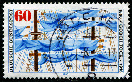 fock: GERMANY - CIRCA 1980: a stamp printed in the Germany shows Ships Rigging, Gorch Fock, Pen Name of Johan Kinau, Poet and Dramatist, circa 1980