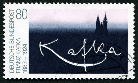 GERMANY - CIRCA 1983: A stamp printed in Germany dedicated to one hundred years of Franz Kafkas birth, circa 1983