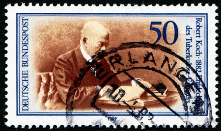 discoverer: GERMANY - CIRCA 1982: a stamp printed in the Germany shows Robert Koch, Discoverer of Tubercle Bacillus, circa 1982