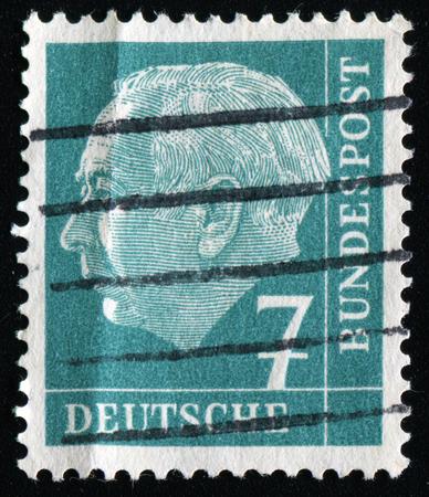 FEDERAL REPUBLIC OF GERMANY - CIRCA 1951: A stamp printed in the Federal Republic of Germany shows 7 deutschmarks, series, circa 1951