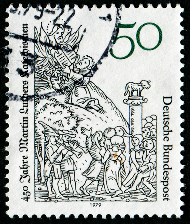 lucas: GERMANY- CIRCA 1979: stamp printed by Germany, shows Moses receiving tablets of the law, by Lucas Cranach, circa 1979. Editorial