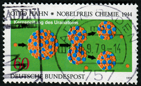 GERMANY - CIRCA 1979: a stamp printed in the Germany shows Otto Hahns Diagram of the Splitting of the Uranium Nucleus, Nobel Prize Winner for Chemistry 1944, circa 1979