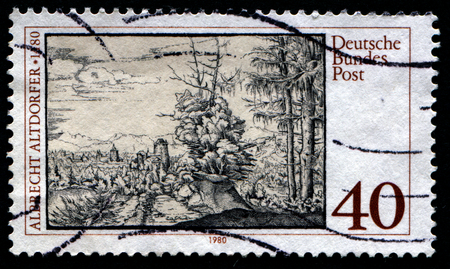 gravure: GERMANY - CIRCA 1980: stamp printed in Germany, shows gravure Landscape with Fir Trees by Altdorfer, circa 1980.