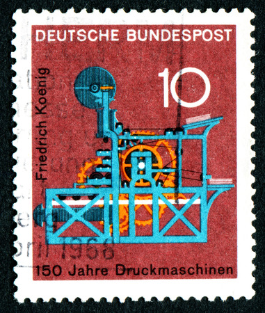 bundes: GERMANY - CIRCA 1968: A stamp printed in Germany from the Scientific anniversaries (3rd series) issue shows Koenigs Printing Machine (150th anniversary), circa 1968.
