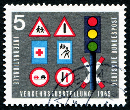 bundespost: FEDERAL REPUBLIC OF GERMANY - CIRCA 1965: A stamp printed in the Federal Republic of Germany shows International transportation exhibition, Internationale Verkehrsausstellung , circa 1965