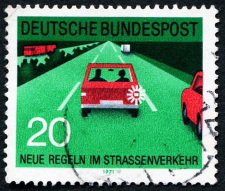 bundes: GERMANY - CIRCA 1971: A stamp printed in Germany from the New Road Traffic Regulations (2nd series) issue shows lane discipline, circa 1971.