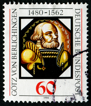 GERMANY - CIRCA 1980: stamp printed by Germany, shows Gotz von Berlichingen, painting on glass, circa 1980.