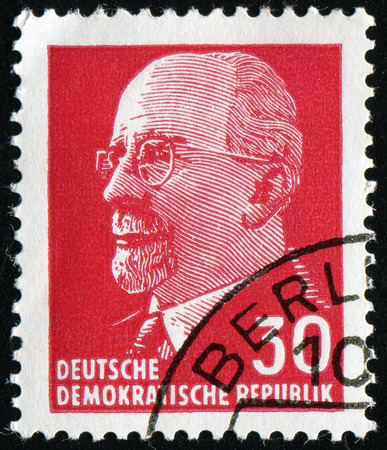 statesman: GERMANY - CIRCA 1963: Postage stamp printed in Germany (GDR), shows a German Communist politician and statesman Walter Ulbricht, circa 1963