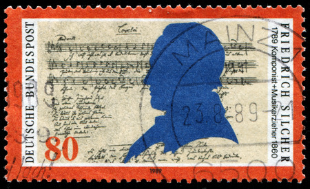 mailmen: GERMANY - CIRCA 1989: A stamp printed in the Germany, shows Friedrich Silcher (1789-1860), Composer, and Lorelai Score, circa 1989