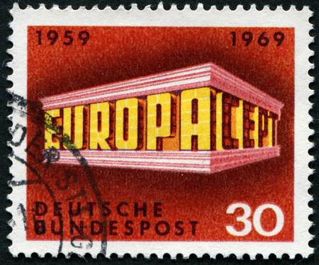 bundespost: GERMANY - CIRCA 1969: A stamp printed in Germany from the Europa issue shows Colonnade, circa 1969.