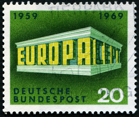 bundes: GERMANY - CIRCA 1969: A stamp printed in Germany from the Europa issue shows Colonnade, circa 1969.