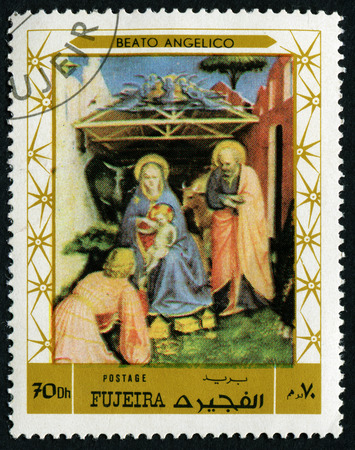 FUJEIRA - CIRCA 1972: stamp printed by Fujeira, shows a Painting by BEATO ANGELICO, circa 1972