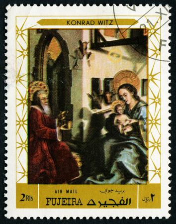 FUJEIRA - CIRCA 1972: stamp printed by Fujeira, shows a Painting by Konrad Witz - Portinari Triptych, circa 1972