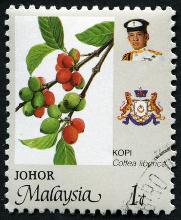 kopi: MALAYSIA - CIRCA 1988:A stamp printed in Malaysia shows KOPI ( Coffea liberica ), circa 1988. Editorial