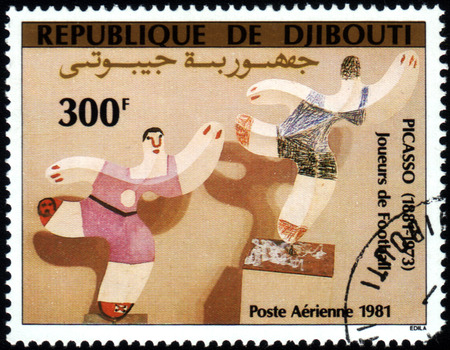 Republic of Djibouti  - CIRCA 1981: A stamp printed in Republic of Djibouti shows paint by Pablo Picasso Football players, circa 1981