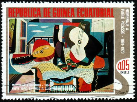 Republic of Equatorial Guinea - CIRCA 1988: A stamp printed in Republic of Equatorial Guinea shows paint by Pablo Picasso, circa 1988 新聞圖片