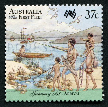 AUSTRALIA - CIRCA 1987: A stamp printed in Australia shows First Fleet arrives at Cape of Good Hope; series, circa 1987