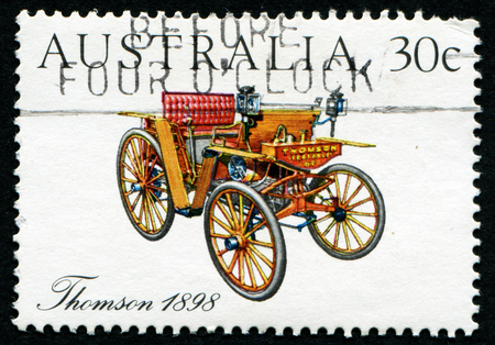 philatelic: AUSTRALIA - CIRCA 1984:A Cancelled postage stamp from Australia illustrating Vintage and Veteran Cars, issued in 1984 Editorial