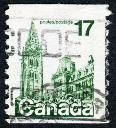 canada stamp: CANADA - CIRCA 1977: A stamp printed in Canada shows parliament, circa 1977