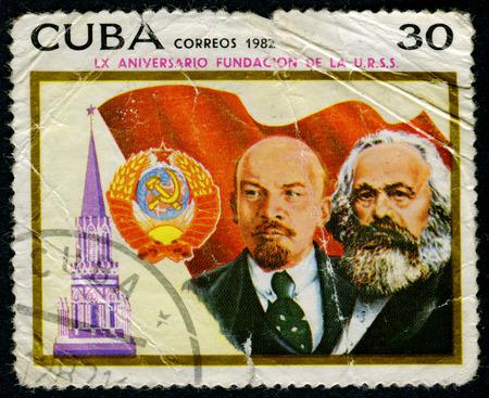 karl: CUBA - CIRCA 1982: A stamp printed in Cuba shows Karl Marx and Vladimir Lenin, circa 1982