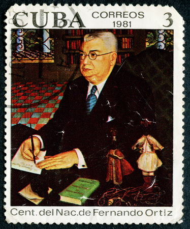 anthropologist: CUBA - CIRCA 1981: A stamp printed in CUBA shows Portrait of Fernando Ortiz, circa 1981 Editorial