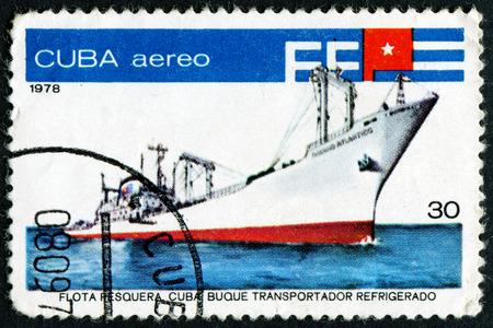 fishing fleet: CUBA - CIRCA 1978: A stamp printed in Cuba from the Fishing Fleet  issue shows Fish factory ship  Oceano Atlantico , circa 1978.