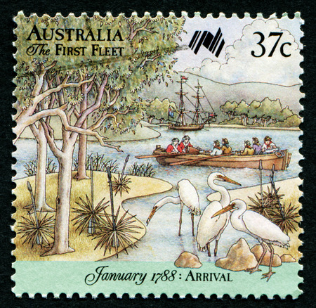first australians: AUSTRALIA - CIRCA 1988:A Cancelled postage stamp from Australia illustrating Arrival of First Fleet, issued in 1988.