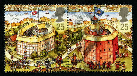 globe theatre: UNITED KINGDOM - CIRCA 1995: Two stamps printed in Great Britain dedicated to Reconstruction of Shakespeares Globe Theatre, circa 1995