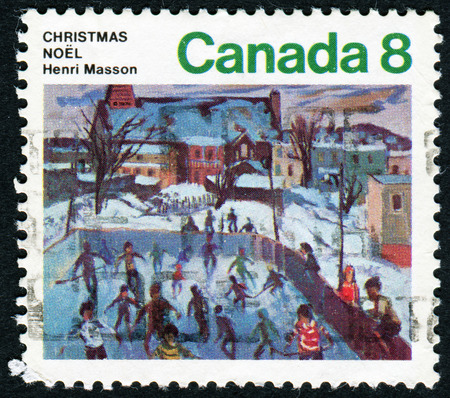 skaters: CANADA - CIRCA 1974: A stamp printed in the Canada shows Skaters at Hull, Painting by Henri Masson, Christmas, circa 1974
