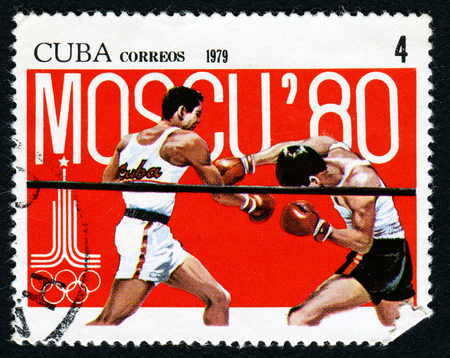 summer olympics: CUBA - CIRCA 1979: stamp printed by Cuba, shows Summer Olympics, Boxing, circa 1979 Editorial