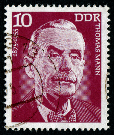 mann: DDR - CIRCA 1975: A stamp printed in the DDR, shows the portrait of the portrait of German writer Thomas Mann, circa 1975