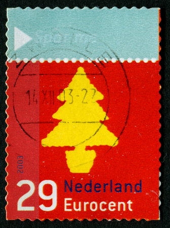 philatelic: NETHERLANDS - CIRCA 2003: December Stamps. Christmas tree, circa 2003. Editorial