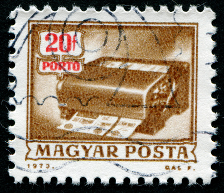 magyar: HUNGARY - CIRCA 1973: A stamp printed in Hungary from the Postal Operations issue shows a money-order cancelling machine, circa 1973