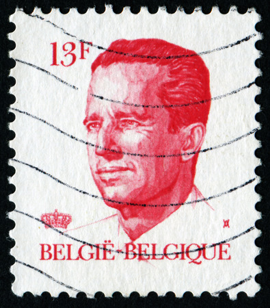 baudouin: BELGIUM - CIRCA 1982: A stamp printed in Belgium shows portrait of King Baudouin (Albert Charles Leopold Axel Marie Gustave de Belgique), without inscription, from series King Baudouin, circa 1982