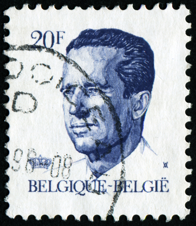belgique: BELGIUM - CIRCA 1982: A stamp printed in Belgium shows portrait of King Baudouin (Albert Charles Leopold Axel Marie Gustave de Belgique), without inscription, from series King Baudouin, circa 1982