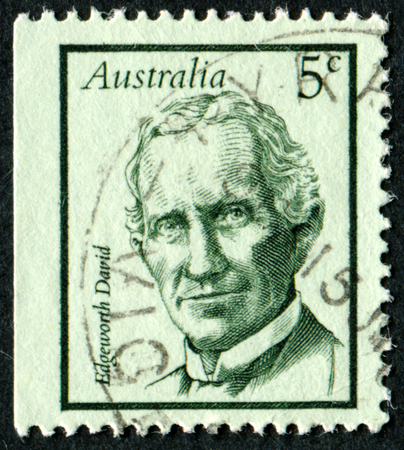 philatelic: AUSTRALIA - CIRCA 1968:A Cancelled postage stamp from Australia illustrating Famous Australians, issued in 1968.