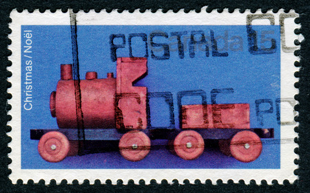CANADA - CIRCA 1981: A stamp printed in Canada shows image of a childs toy train, series, circa 1981