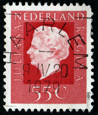 juliana: NETHERLANDS - CIRCA 1976: A stamp printed in Netherlands shows portrait of Queen Juliana (1909-2004), circa 1976 Editorial