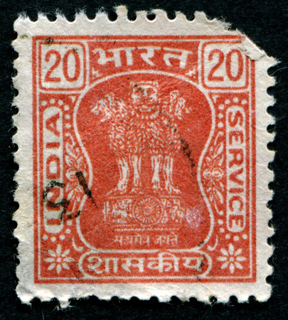 indian postal stamp: INDIA - CIRCA 1957: A stamp printed in India shows animals, series, circa 1957 Editorial