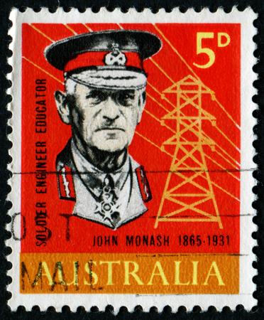 first australians: AUSTRALIA - CIRCA 1965: A stamp printed in Australia shows portrait of John Monash (1865 - 1931), Soldier engineer Educator, circa 1965.