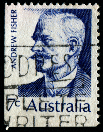 ministers: AUSTRALIA - CIRCA 1972:A Cancelled postage stamp from Australia illustrating Australian Prime Ministers, issued in 1972.