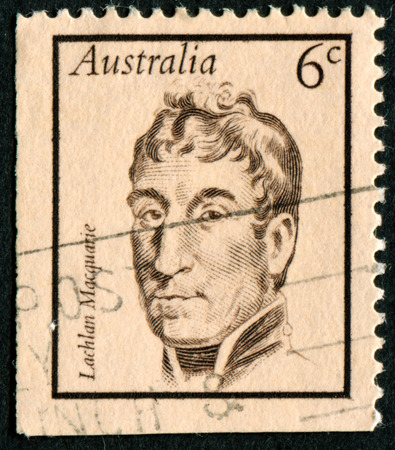 australia stamp: AUSTRALIA - CIRCA 1970:A Cancelled postage stamp from Australia illustrating Portraits of Famous Australians, issued in 1970. Editorial