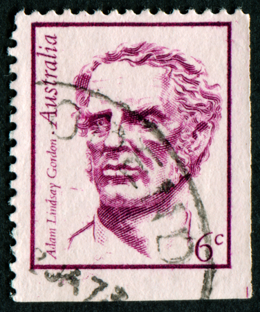 lindsay: AUSTRALIA - CIRCA 1970:A Cancelled postage stamp from Australia illustrating Portraits of Famous Australians, issued in 1970. Editorial