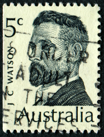 philatelic: AUSTRALIA - CIRCA 1969:A Cancelled postage stamp from Australia illustrating Australian Prime Ministers, issued in 1969. Editorial