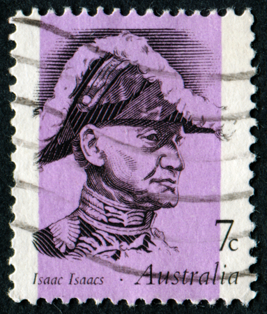 philatelic: AUSTRALIA - CIRCA 1973:A Cancelled postage stamp from Australia illustrating portraits of famous Australians, issued in 1973.