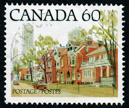 canada stamp: CANADA - CIRCA 1982: Postage stamp printed in Canada with image of a Canadian urban landscape. CIRCA 1982