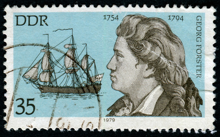 pseudonym: GERMANY - CIRCA 1979: stamp show Educator and revolutionary democrat, writer Georg Adam Forster (1754-1794). Ship the Resolution , circa 1979