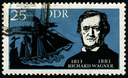 melodist: GERMANY - CIRCA 1977: A stamp printed in Germany shows portrait of Richard Wagner (1813-1883), German composers, circa 1977